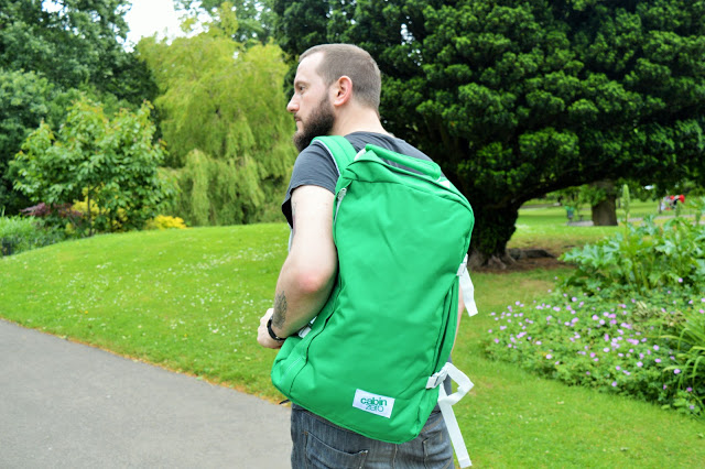 Man with bag on his back.