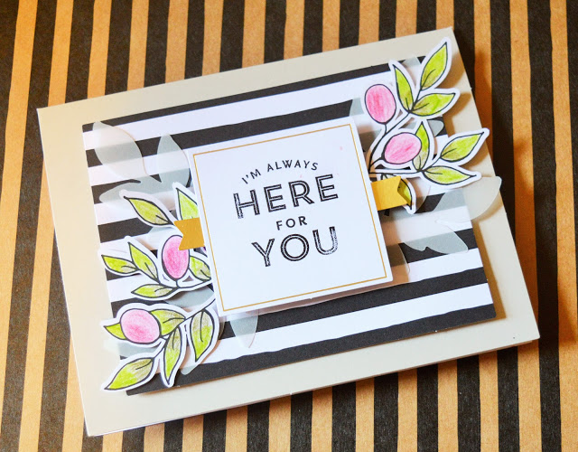 Card with payers built upon it, with the message 'I'm Always Here For You.'