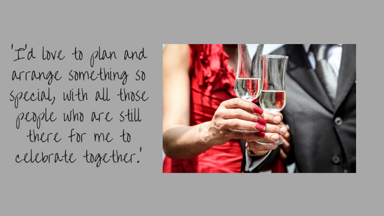 Quote about parties with a photo of two people having a celebratory drink.