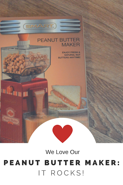 Nut butter maker box with 'We love our nut butter maker: it rocks!' written underneath.