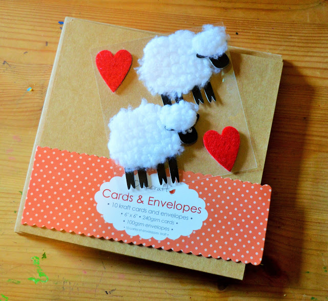 Brown cards and sheep embellishments.