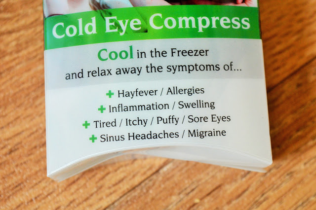 Green and white package for eye mask.