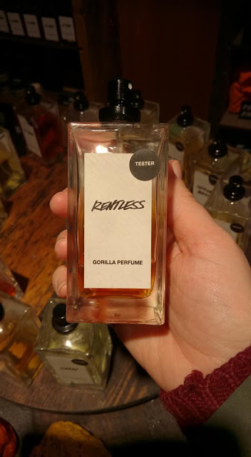 Perfume bottle entitiled 'Rentless'.