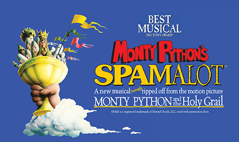 Spamalot title with a large holy grail and hand.