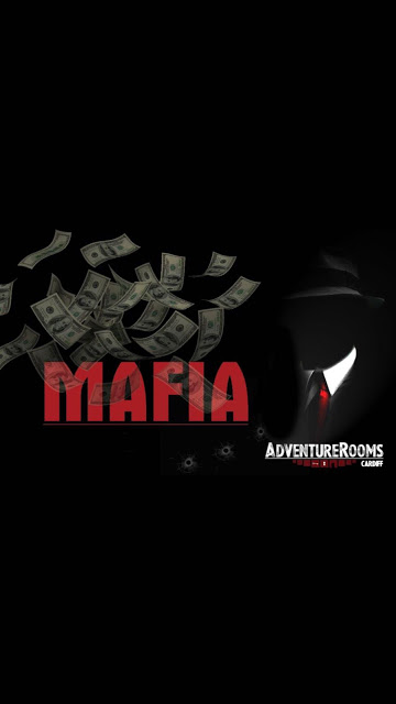 Mafia in red with a black and white background and silhouette of a mafia boss.