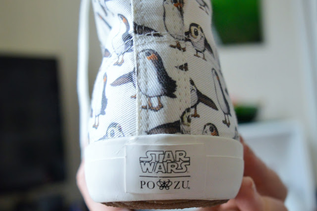 Heel of boot with 'star wars po-zu' printed.