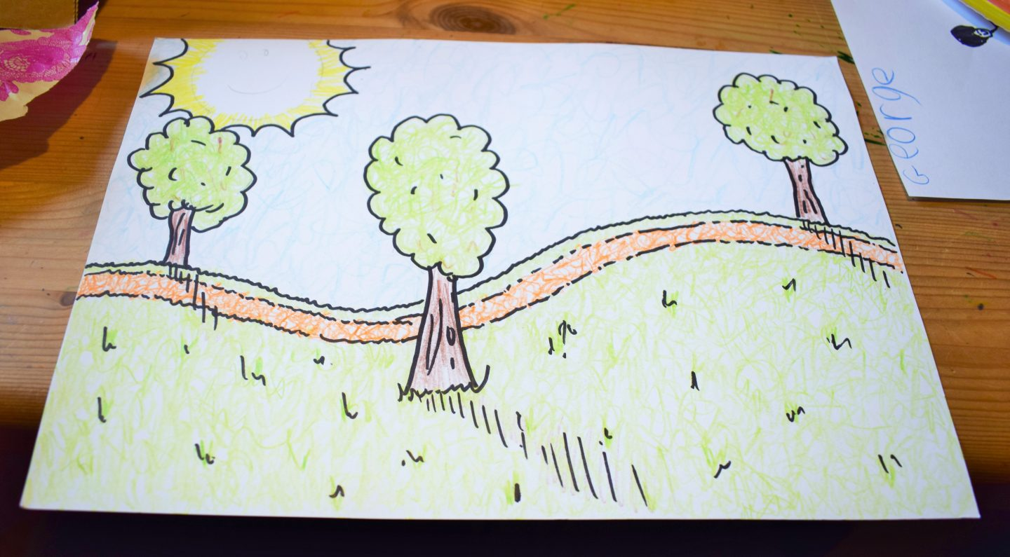 First stage of tour de france bike craft with #bostikbloggers. Trees, grass and sunshine on a piece of paper.