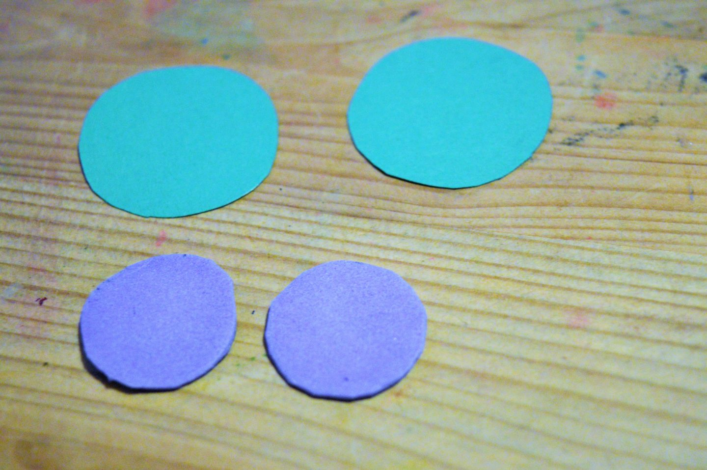 Make a Sweetie Robot Craft four foam circles for eyes, two green, two purple