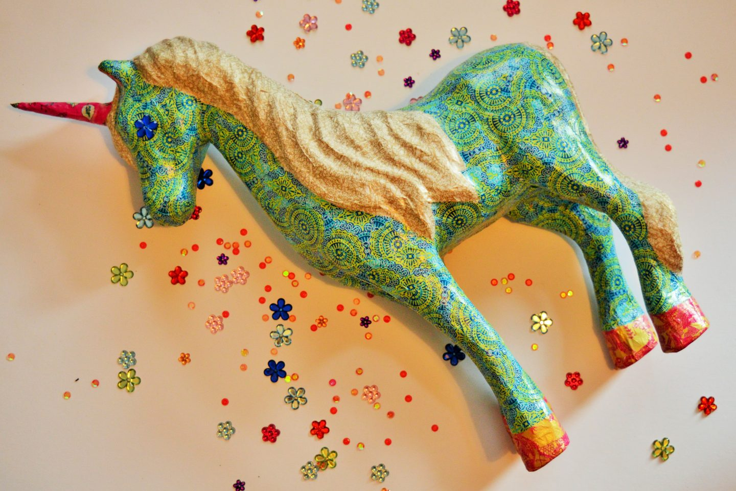 Pink, blue and silvery decoupage unicorn