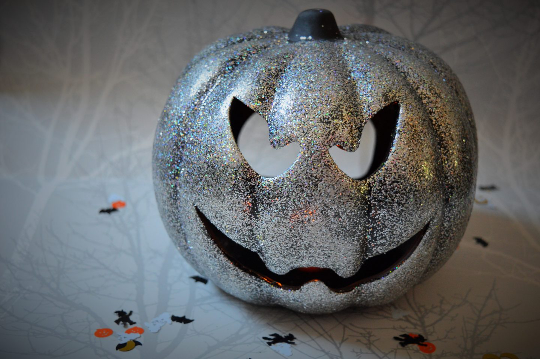 Halloween decorations from Wilko silver pumpkin