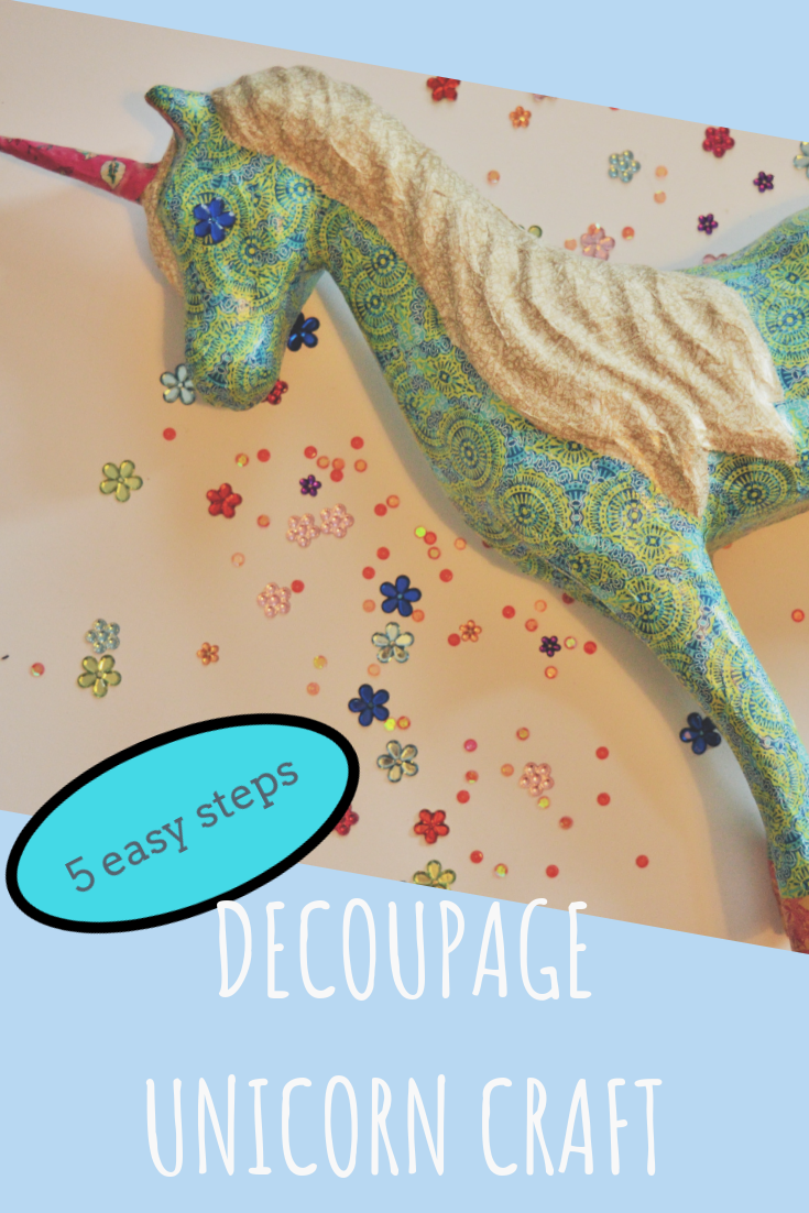 Pin for Pinterest Decoupage Unicorn